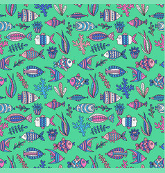 Seamless pattern with cute fishes and seaweeds vector