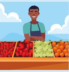 Seller man in a farmer market vector