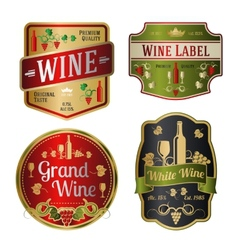 set colorful wine labels different shapes vector image