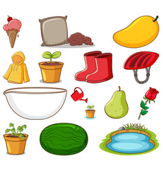 set gardening items and other things on white vector image