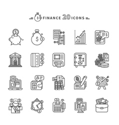 Set of outline finance icons on white background vector
