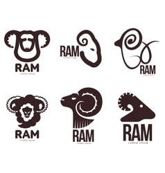 Set of ram sheep lamb head graphic logo vector