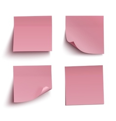 Set of red sticky notes vector