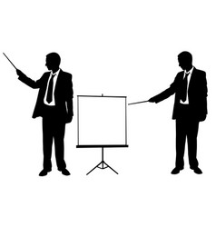 silhouettes of businessmen pointing vector image