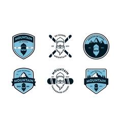 Ski and snowboard badge set vector
