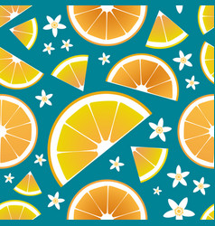 slices orange and orange tree leaves vector image