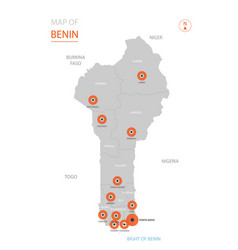 stylized benin map showing big cities capital vector image