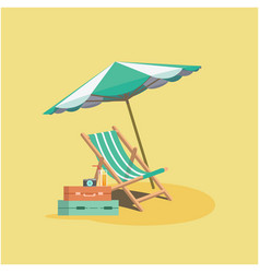 summer beach umbrella chair baggage yellow backgro vector image