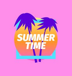 summer time purple palm trees against a vector image