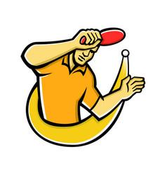Table tennis player smash ball mascot vector