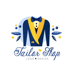 tailor shop logo design dressmakers salon sewing vector image