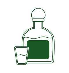 Tequila bottle and shot beverage cinco de mayo vector