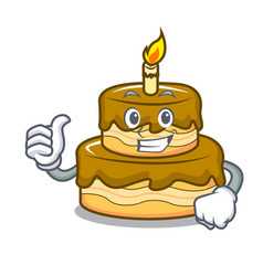 thumbs up birthday cake character cartoon vector image