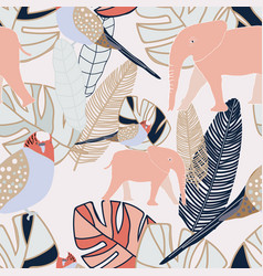 Tropical beige and grey leaves with pink vector