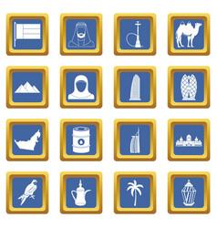 Uae travel icons set blue vector