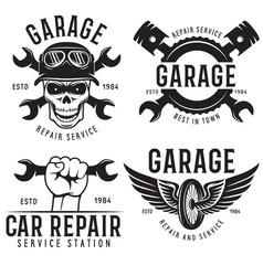 Vintage car service badges templates emblems vector