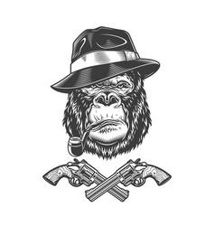 vintage monochrome serious gangster gorilla head vector image