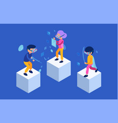 vr people future characters male and female vector image