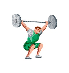 Weightlifter Lifting Barbell Low Polygon vector image