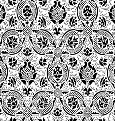 White and black seamless abstract floral backgroun vector image