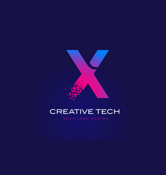 x initial letter logo design with digital pixels vector image
