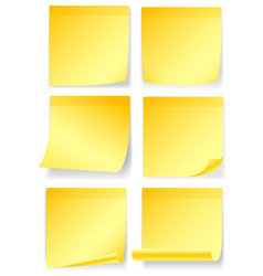 yellow notes in six different styles vector image