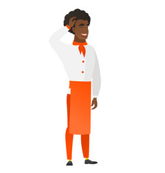 Young african-american chef cook in uniform vector