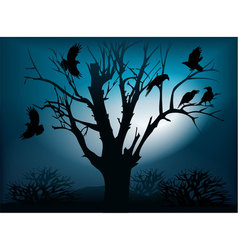 Black ravens on the tree vector image vector image