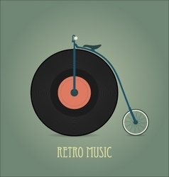 Black vinyl disk Vintage record Retro music vector image