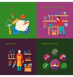 Carpentry Flat Icons Set vector image