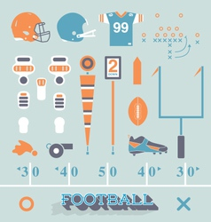 Football Equipment Icons and Symbols vector image vector image