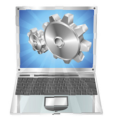 gear cogs flying out of laptop screen concept vector image