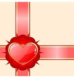 Gift ribbon with red heart vector image vector image