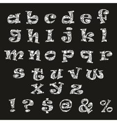 Handdrawn black-and-white alphabet vector image