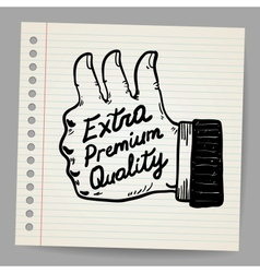 Scribble thumb up vector image