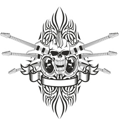 skull crossed guitars and pattern vector image vector image