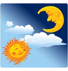 Sun and Moon on sky Background vector image