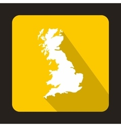 White map of United Kingdom icon flat style vector image