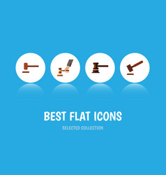 Flat icon hammer set of defense justice crime vector