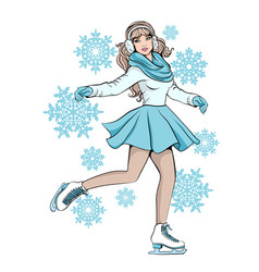 girl in gloves and scarf skater is skating vector image