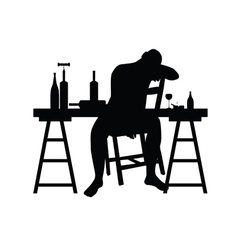 man siting and drink alcohol silhouette vector image