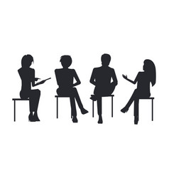 people black silhouettes at business training sit vector image vector image