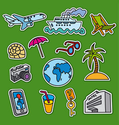set stickers for tourism and travel services vector image vector image