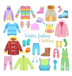 Children Winter Clothes and Accessories Collection vector image vector image