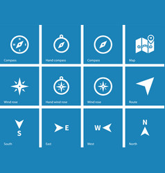 Compass icons on blue background vector image
