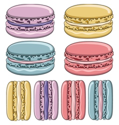 Set of colorful French macaroon cookies vector image vector image