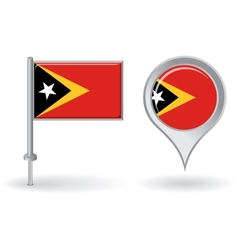 Timor-Leste pin icon and map pointer flag vector image vector image