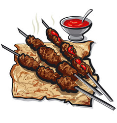 meat kebabs and pita vector image vector image