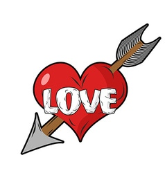Red heart and arrow of Cupid Emblem for vector image