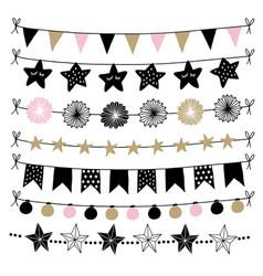 set of birthday new year decorative borders vector image